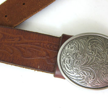 vintage leather tooled belt / oval silver buckle / floral flowers // women's XXL