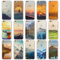 """Endless Mountains Painted Soft TPU For Apple iPhone 6 """"4.7""""inch Mobile Phone Back Skin Cases Cover for iphone 6s"""