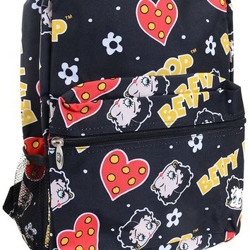 Betty Boop Black Red Hearts Flowers Backpack Purse