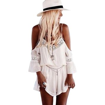 Playsuit wild style V-neck women dress 2017 chiffon womens lace sexy halter harness piece hollow out clothing vestidos YFF6113