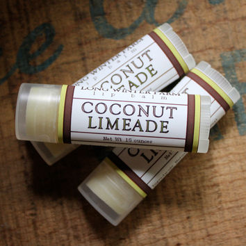 Coconut Limeade Lip Balm  One Tube Beeswax by LongWinterSoapCo