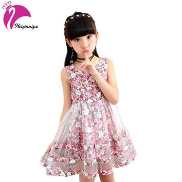 Floral Girls Dresses Bohemian Style Layered Dresses For Girls Fashion Kids Teens Clothes Princess A-line Dresses For Girls