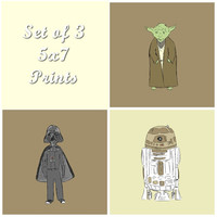 Nursery Art Print Star Wars Inspired Set of Three Digital Prints Darth Vader R2D2 and Yoda in Brown 5x7