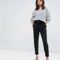 Y.A.S Tall Slim Leg Tailored Pants With Belted Waist at asos.com
