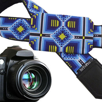 Native American Inspired camera strap with pocket. Light and dark blue, yellow camera strap for DSLR and SLR cameras. Camera accessories.