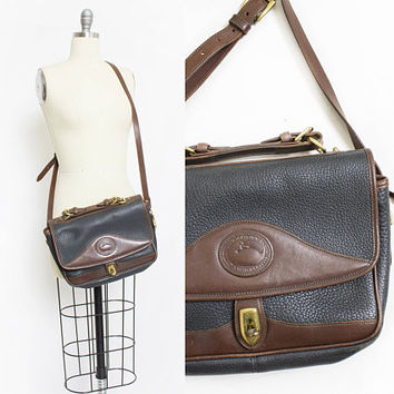 Vintage DOONEY & BOURKE Purse - 1990s Brown + Black Leather Adjustable Cross Body Satchel Bag