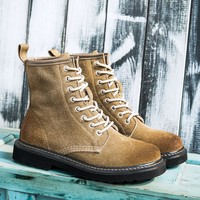 Hot Deal On Sale Matte Leather With Heel England Style Boots [120848613401]