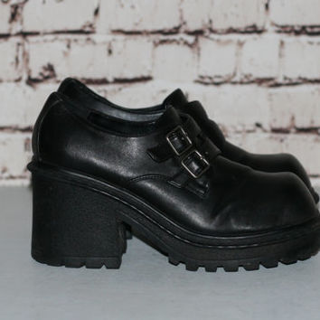 90s Chunky Boots Black Vegan Leather US 8.5 Monster Platform Heel Ankle Bootie Grunge Hipster Festival Minimalist Punk Goth Gothic Shoes 8 9
