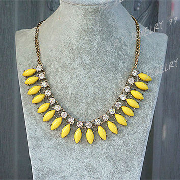 Crystal Necklace,Beaded Necklace,Yellow Bubble Necklace, Bib Statement Necklace, Bib Necklace, Bridesmaid Jewelry Gifts SN1350