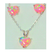Pink Opal Heart Stud Earrings & Pendant Set White Gold