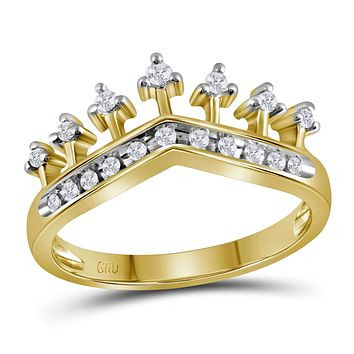 10kt Yellow Gold Womens Round Diamond Crown Tiara Band Ring 1/5 Cttw - FREE Shipping (US/CAN)
