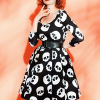 Final Sale - Hotrod Honey Swing Dress in Skull Print
