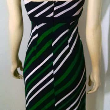 Cache Cocktail Dress Size 2 Green Black Striped Sleeveless Stretchy P1201 (Cache')
