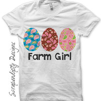 Farm Girl Iron on Transfer, Kids Farming Clothing, Barn PDF Digital File, Toddler Farm Girl Shirt, Womens Farm Girl Tshirt, Paisley Egg Tee