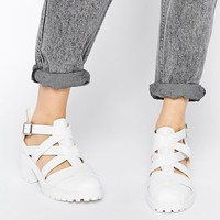 New Look Wide Fit White Kick Gladiator Heeled Shoes at asos.com