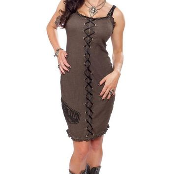 Punk Boho Grunge Brown Distressed Cotton Lace-up Snake Oil Dress