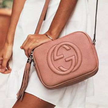 Gucci sells fashion ladies'double G single shoulder fringed bag pink