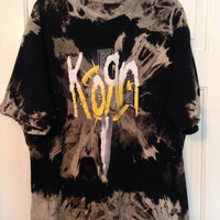 Korn Hand bleached tie dyed shirt soft grunge