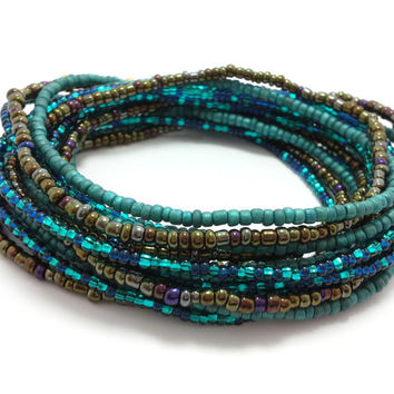 Seed bead wrap stretch bracelets, stacking, beaded, boho anklet, bohemian, stretchy stackable multi strand, brown dark teal blue iris aqua