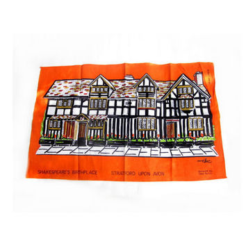 Irish Linen Shakespeare's Birthplace Tea Towel by Tibor  Reich