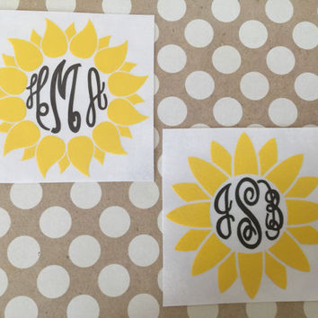 Sunflower Monogram Decal  | Empress Font Sunflower Car Decal | Sunflower Cup Decal | Preppy Decal | Preppy Monograms | Country Decals | Prep