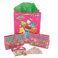 Shopkins Gift Pack - Shopkins Gift Bag & Tissue Paper, 2 Small Pink Storage Cases, Alphabet Stickers, & Shopkins Confetti Stickers - Compatible with ShopkinsTM (Bundle of 7)
