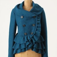 Frilled Echelons Peacoat - Anthropologie.com