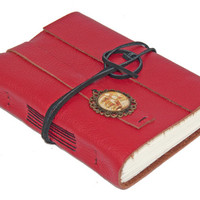 Red Leather Wrap Journal with Cameo Bookmark