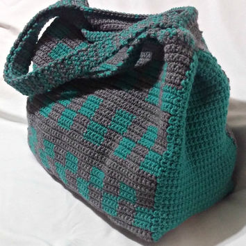 Crochet Tote Bag, Teal and Grey Tote, Large Tote, Checkerboard Tote