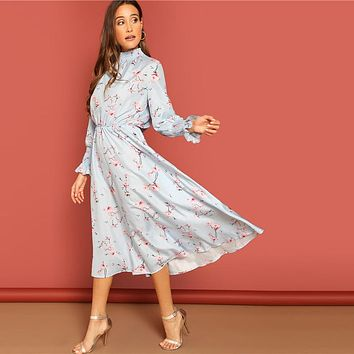 Blue Smocked High Neck And Cuff Floral Print High Neck Boho Solid Dress Women Fit and Flare A Type Dress