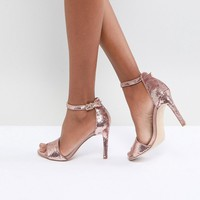 ALDO Fiolla Rose Gold Sequin Heeled Sandal at asos.com
