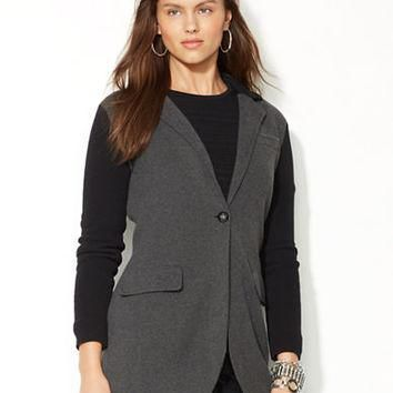 Lauren Ralph Lauren Petite Color Blocked Sweater Coat