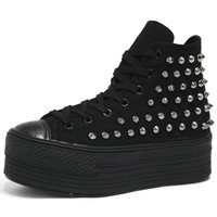 Womens Black Studded Canvas Zipper Platform High Top Sneakers Ankle Trainers