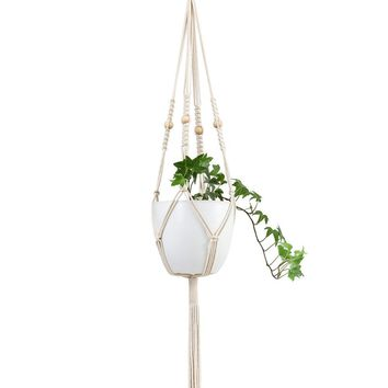 Mkono Macrame Plant Hanger Hanging Planter With Wooden Beads 41 Inches