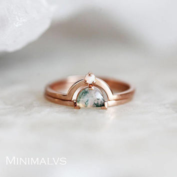 Moss Agate Ring Set, Unique Ring Set, Half Moon Ring, Australian Opal ring with Agate Ring, Rose Gold Set, Modern Ring Set, Ring Set for Her