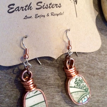 Broken Pottery Shard Teardrop Earrings, green and white porcelain, dangley, Unique, from a vintage china plate, copper ear hooks, handmade