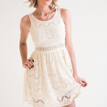 Ivory Waves Sleeveless Dress
