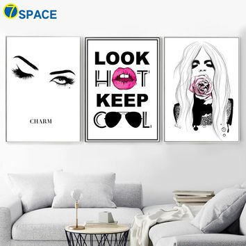 Abstract Eyes Rose Flower Hot Girl Quotes Wall Art Canvas Painting Nordic Posters And Prints Wall Pictures For Living Room Decor