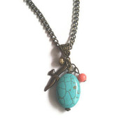 Turquoise Stone Coral Stone & Bird Vintage Style Necklace
