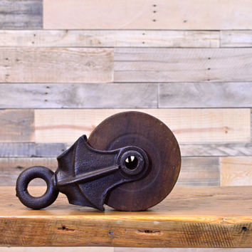 Vintage Pulley, Wooden Pulley, Wood And Cast Iron Pulley