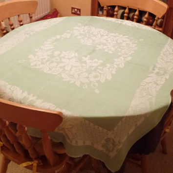 Green and White Tablecloth, Table Topper, Cotton Silk Damask, Slightly Rectangular, Home Decor