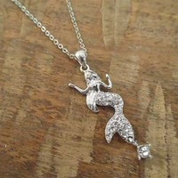 Silver Rhinestone Mermaid Necklace | Candy's Cottage