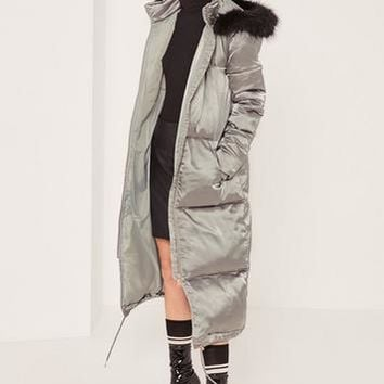 Missguided - Grey Longline Satin Padded Coat