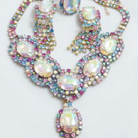 Czech Glass Multicolored Pastel Rhinestone Necklace, Clip Earrings and Ring