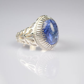 Blue Tanzanite Sterling Silver Genuine Gemstone Size 9.75 (Re-sizing is available for free)