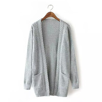 Long-Sleeve Knitted Cardigan With Pocket