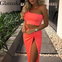Glamaker Split One shoulder neon 2 piece long dress Women bodycon midi club dress Summer sexy crop plus size irregular vestidos