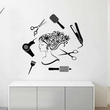 Wall Decal Vinyl Sticker Decals Art Home Decor Design Mural Floral Hair Beauty Salon Flowers Girl Accessories Scissors Fashion Women #13