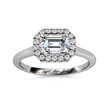 A Perfect 6CT Emerald Cut Halo Russian Lab Diamond Engagement Wedding Anniversary Ring