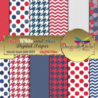 80% OFF Sale Red White Blue, paperpacks, commercial use, digital scrapbook, vector graphics, printable, Instant Download, Chevron,